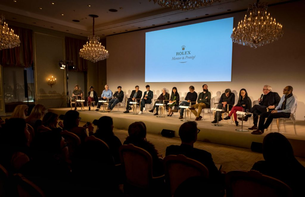 The Rolex Mentor and Protégé Arts Initiative, Press conference with the Cycle 8 (2016-2017). Left to right: Rebecca Irvin, Head of Philanthropy, Rolex S.A., Londiwe Khoza, protégée in dance, Alfonso Cuarón, mentor in film, Chaitanya Tamhane, protégé in film, Robert Lepage, mentor in theatre, Matías Umpierrez, protégé in theatre, Joan Jonas, mentor in visual arts, Thao-Nguyen Phan, protégée in visual arts, Mia Couto, mentor in literature, Julían Fuks, protégé in literature, Philip Glass, mentor in music, Pauchi Sasaki, protégée in music, Sir David Chipperfield, mentor in architecture, Simon Kretz, protégé in architecture.