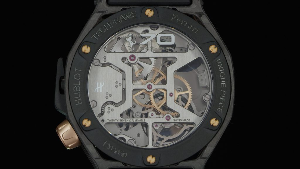 Mouvement Hublot Techframe Ferrari 70 Years Carbone Peek & King Gold Tourbillon Chronographe