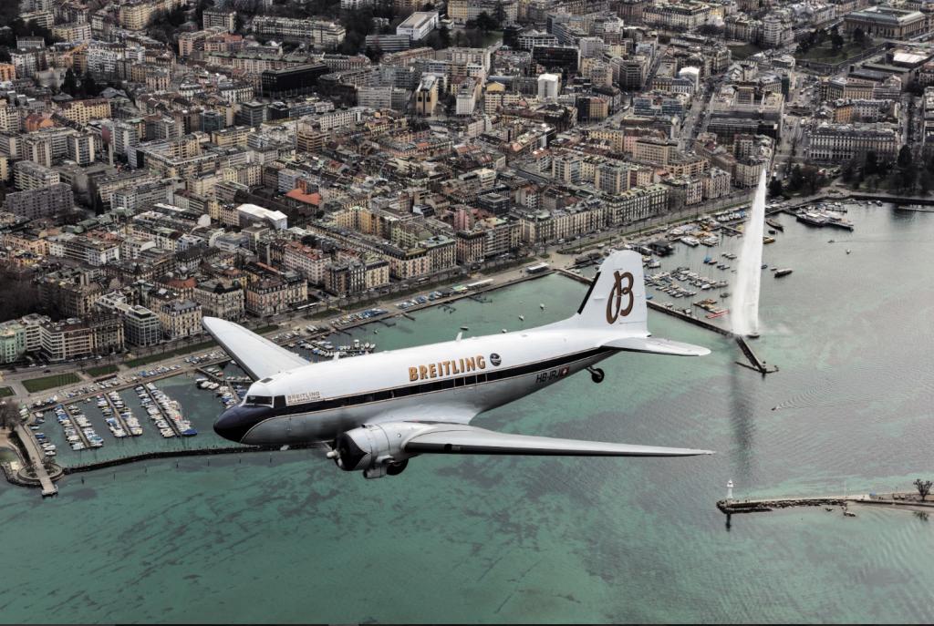 Survol de Genève et de son fameux jet d'eau - Breitling DC-3 World Tour