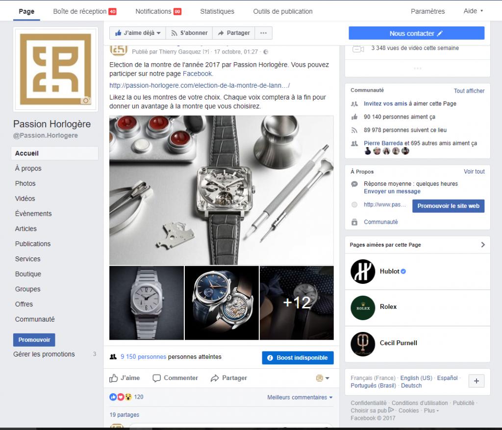 Page Facebook Passion Horlogère