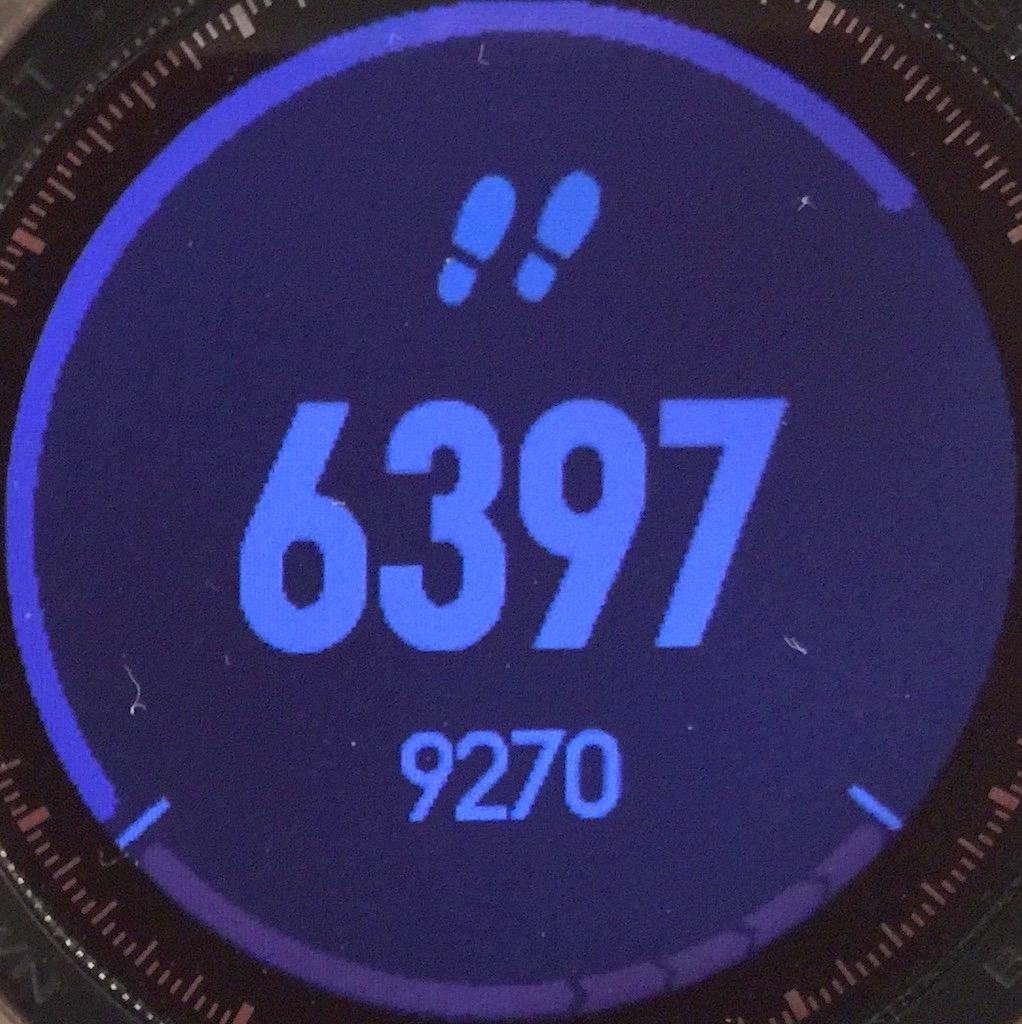 Le suivi du nombre de pas... je suis encore loin de l'objectif de 9270 !