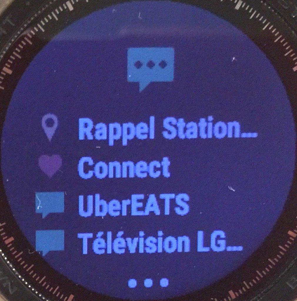 Des notifications reçues sur la montre