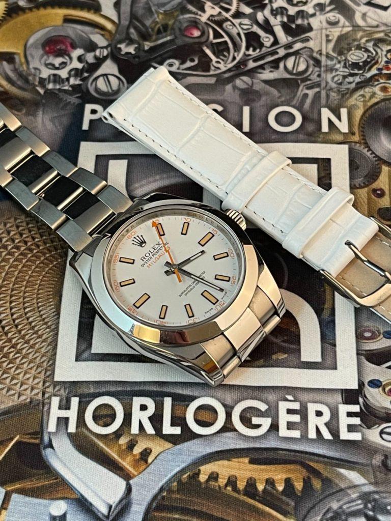 Rolex Milgauss et bracelet cuir blanc façon Alligator