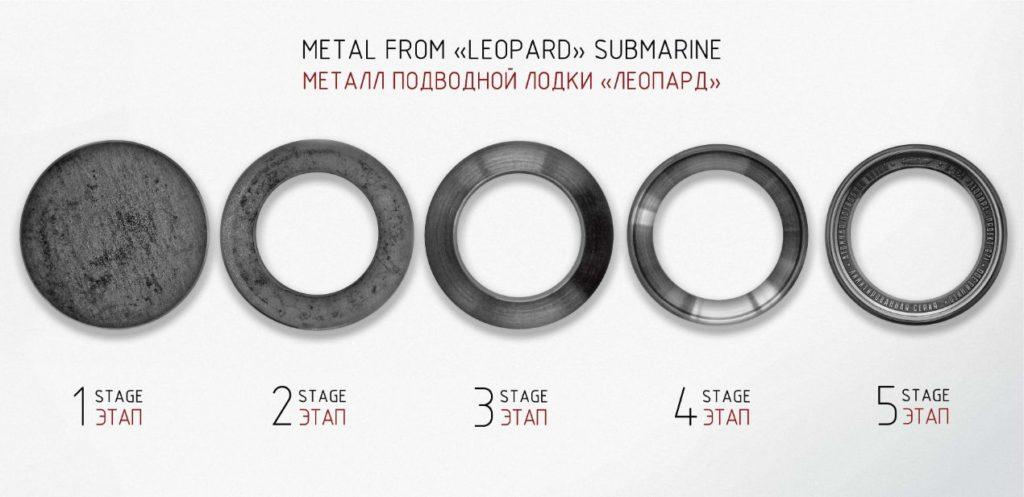 Les différentes étapes de fabrication de la lunette de la montre à partir d'une pièce du Léopard.