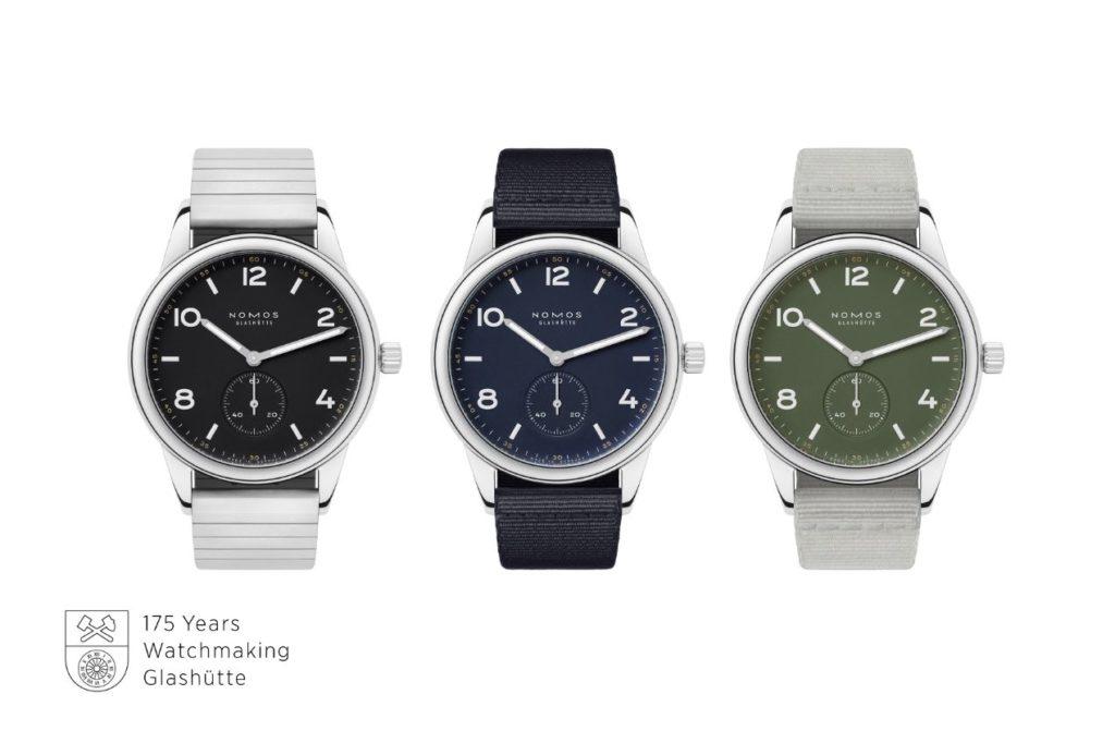 Édition limitée : les montres NOMOS Club automatique en trois nouvelles couleurs, animées d'un calibre de manufacture et du NOMOS-Swing-System, conçu et fabriqué en interne, et réglé d'après les valeurs de chronomètre.