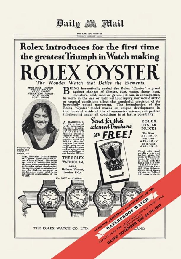 Mercedes Gleitze, premier témoignage Rolex