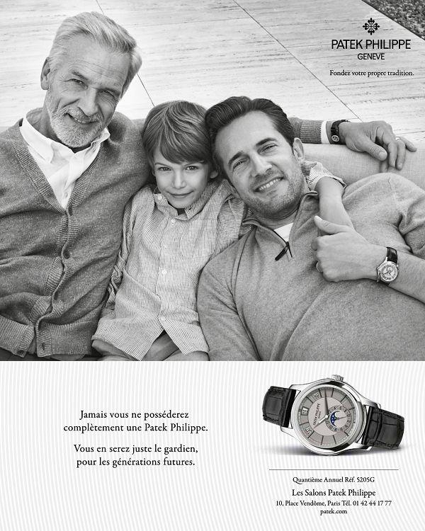 """Depuis 1996 Patek Philippe entretien cette campagne publicitaire dite """"générationnelle""""."""