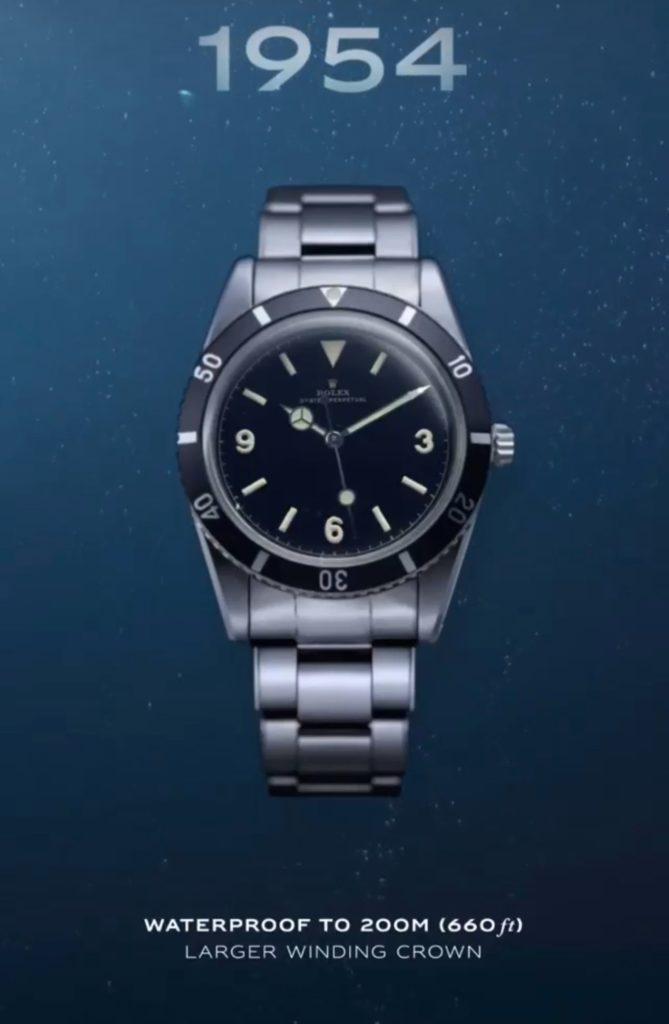 Rolex Submariner ref 6205 de 1954 / première montre étanche à 200 mètres.