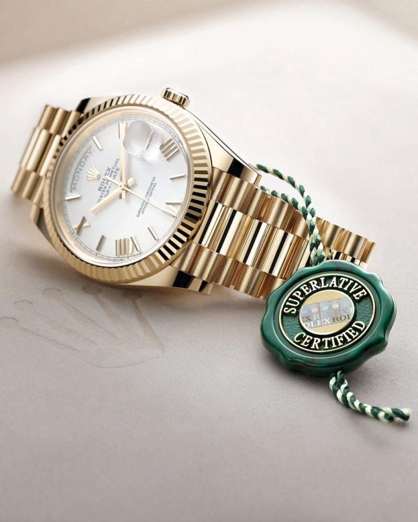 Rolex Day-Date certifiée Superlative Chronometer en 2021.